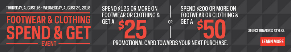 Footwear & Clothing Spend & Get Event | Spend $125 Or More On Clothing & Footwear And Get $25