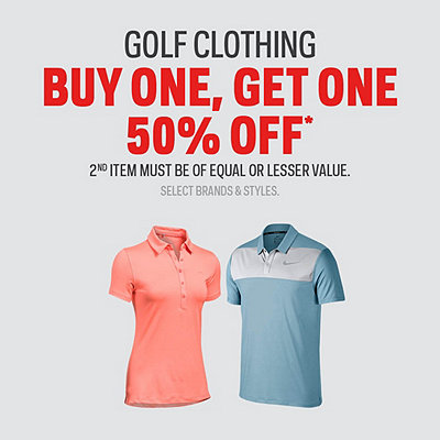 Select Men's, Women's, and Kids Golf Clothing Buy One, Get One 50% Off* Sale