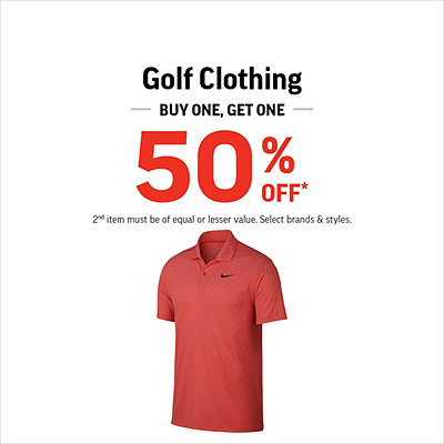 Golf Clothing Buy One, Get One 50% Off