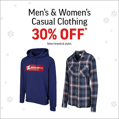 Men's & Women's Casual Clothing 30% Off* Sale