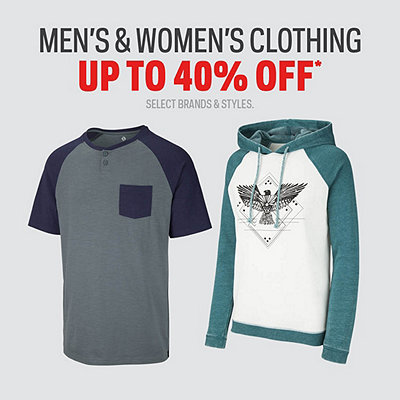 Men's & Women's Clothing Up To 40% Off*