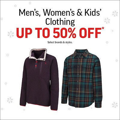 Men's, Women's & Kids' Clothing Up To 50% Off* Sale