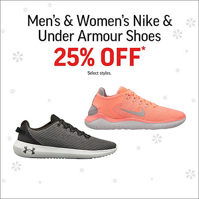 Men's & Women's Nike and Under Armour Shoes 25% Off*