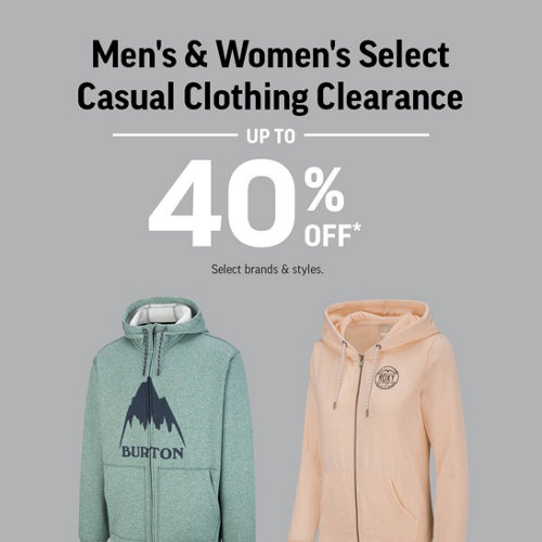 Men's & Women's Select Casual Clothing Clearance Up to 40% Off* Select Brands & Styles.