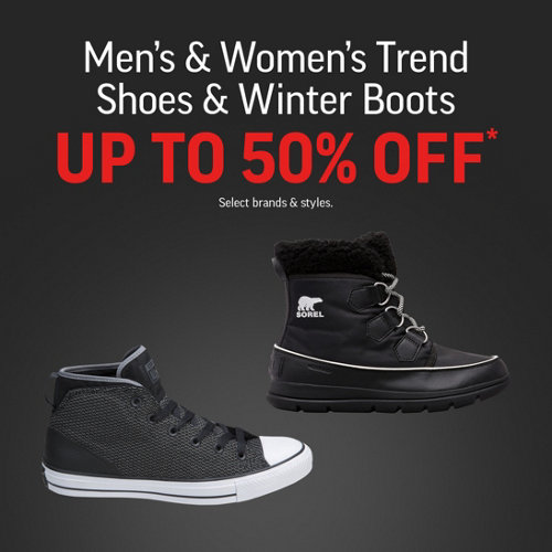 Men's & Women's Trend Shoes & Winter Boots Up to 50% Off* Select Brands & Styles.