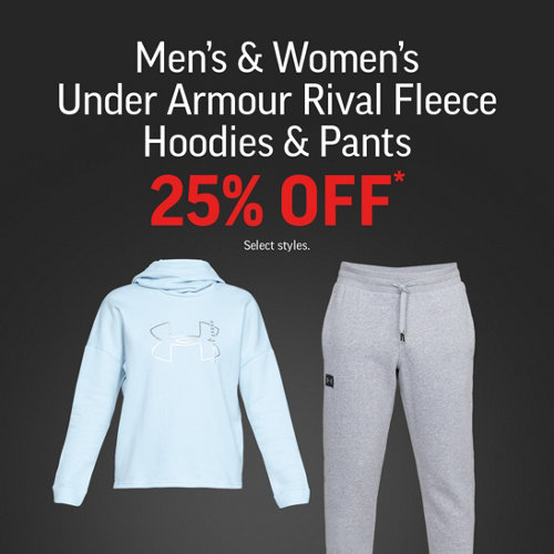 Men's & Women's UA Rival Fleece Hoodies & Pants 25% Off*