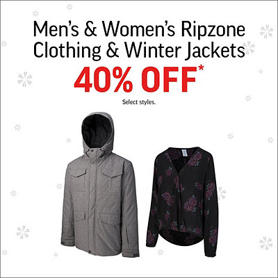 Men's & Women's Ripzone Clothing & Winter Jackets 40% Off* Sale