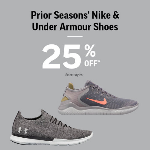 Prior Seasons' Nike & Under Armour Shoes Up to 25% Off* Select Styles.