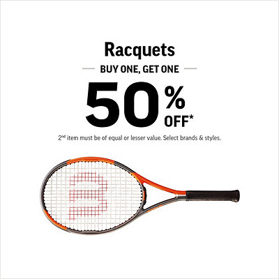 Racquets - Buy One, Get One 50% Off