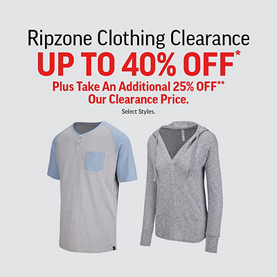 Men's, Women's & Kids' Ripzone Clothing Clearance Up To 40% Off* Sale