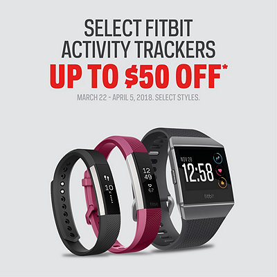 Select Fitbit Activity Trackers Up to $50 Off*