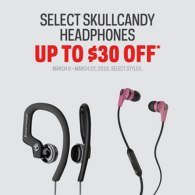Select Skullcandy Headphones Up to $30 Off*