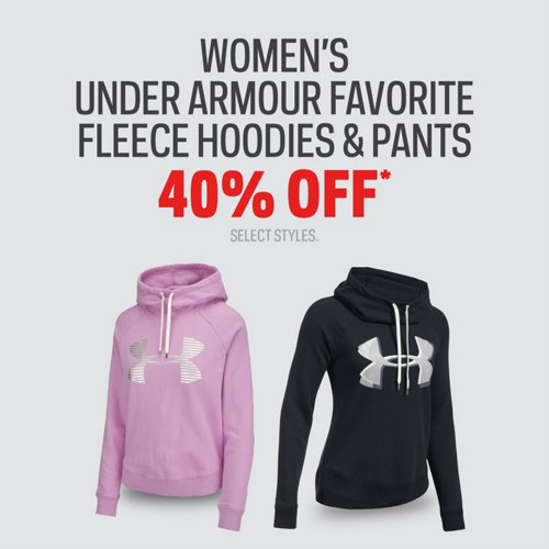 Women's Select Under Armour Favourite Fleece Hoodies & Pants 40% Off