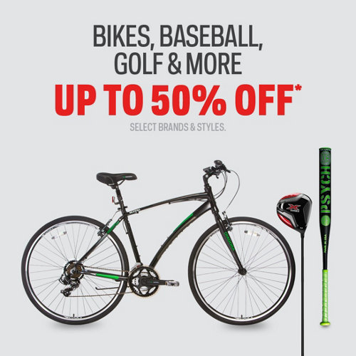 Bikes, Baseball, Golf & More - Select Equipment Deals up to 50% Off