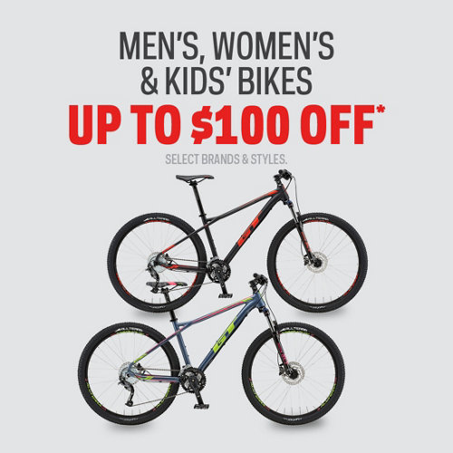 Men's, Women's & Kids' Bikes Up to $100 Off*