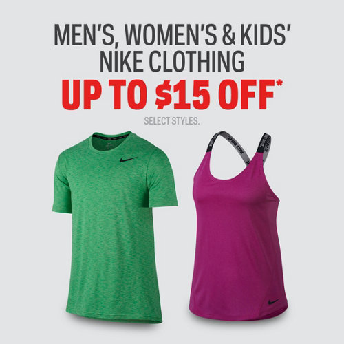 Select Nike Clothing Up to $15 Off