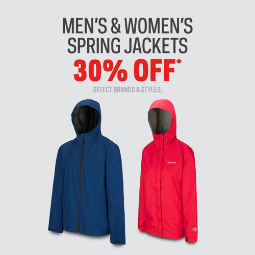 Men's & Women's Spring Jackets 30% Off