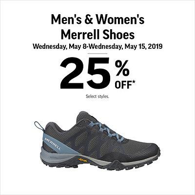 b4f7fef14 Men s   Women s Merrell Shoes 25% Off