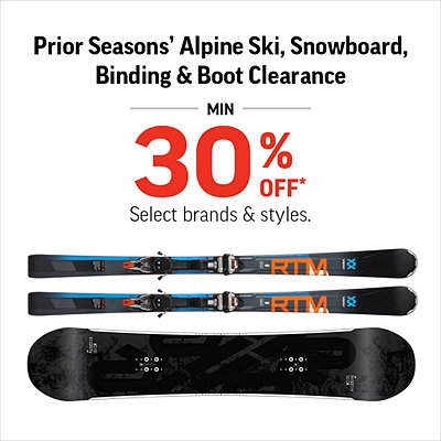 Select Prior Seasons' Alpine Ski & Snowboard, Boot & Binding Clearance