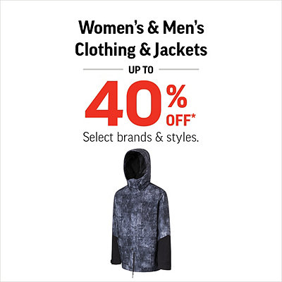 Women's & Men's Clothing & Jackets up to 40% Off