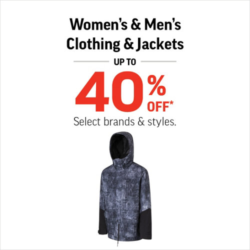 Women's & Men's Jackets & Clothing up to 40% Off* Select brands and styles.