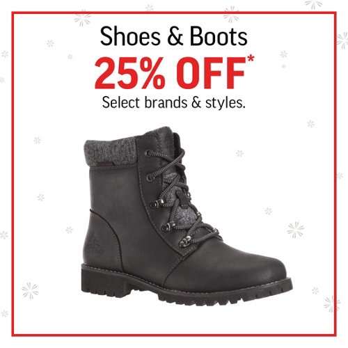 Shoes & Boots 25% Off* Select brands and styles.