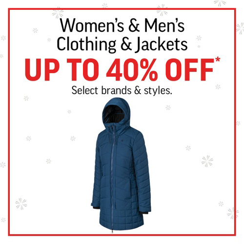 Women's & Men's Clothing & Jackets up to 40% Off* Select brands and styles.