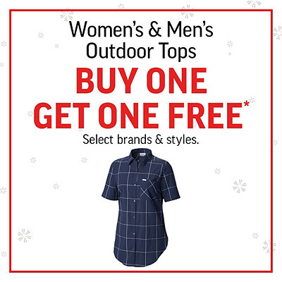 Select Men's & Women's Outdoor Tops Buy One, Get One Free*