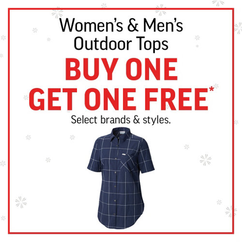 Women's & Men's Outdoor Tops BOGO*  Select brands and styles.