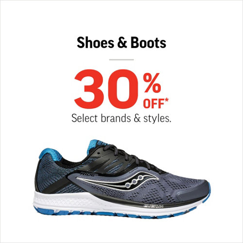 Shoes & Boots 30% Off* Select Brands and Styles.