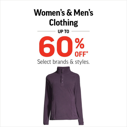 Women's & Men's Clothing up to 60% Off* Select Styles.