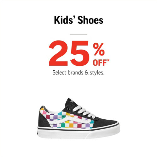 Kids' Shoes 25% Off* Select Styles & Brands.