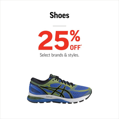 Shoes 25% Off* Select Styles & Brands.