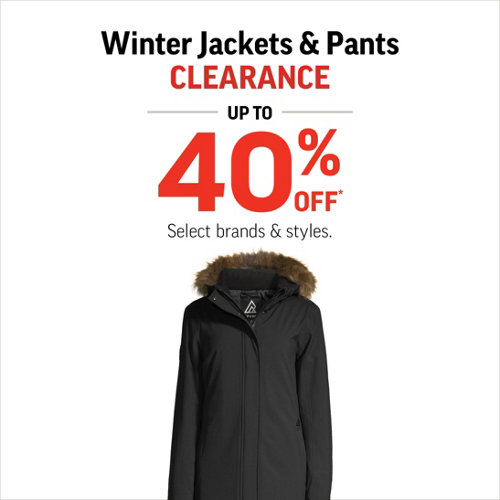 Winter Jackets & Pants Clearance Up to 40% Off* Select Styles & Brands.