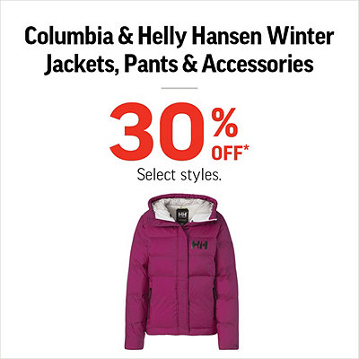 Columbia & Helly Hansen Winter Jackets, Pants & Accessories 30% Off*