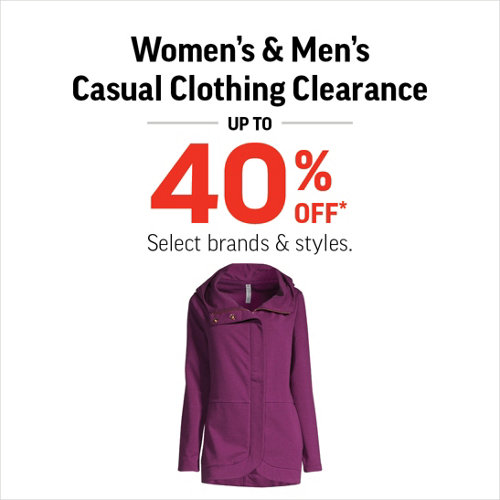 Women's & Men's Casual Clothing Clearance up to 40% Off* Select brands & styles