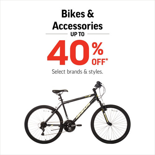 Bikes & Accessories up to 40% Off* Select Styles & Brands.