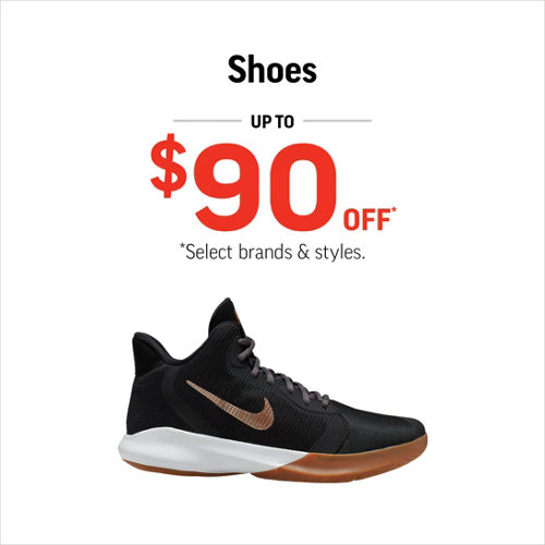 Shoes up to $90* Select Styles & Brands.