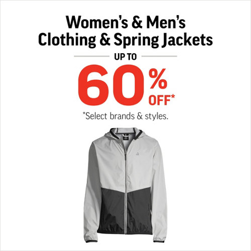 Clothing & Spring Jackets up to 60% Off* Select Styles & Brands.