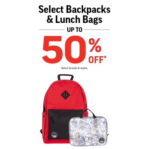 Backpacks, Lunch Bags & Duffel Bags up to 50% Off* Select Styles & Brands.
