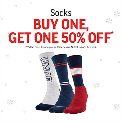 Select Socks Buy One, Get One 50% Off*