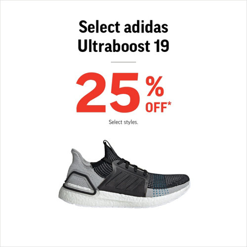 Select adidas Ultraboost 19 25% Off* Select Styles.