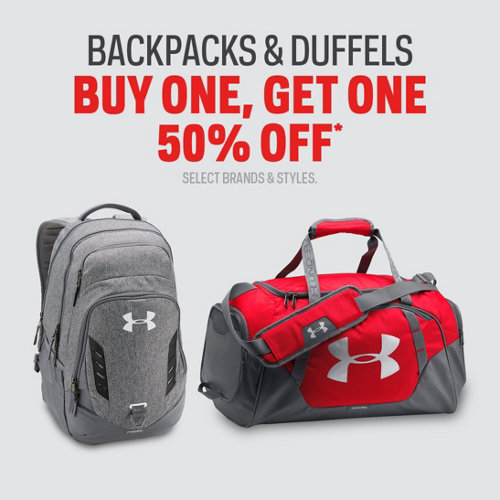 Backpacks & Duffels Buy One, Get One 50% Off* Select Brands & Styles.