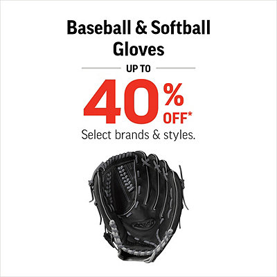 Select Baseball & Softball Gloves 40% Off*