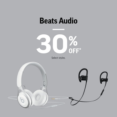 Beats Audio 30% Off* Select Styles.