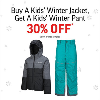 Buy a Kids' Winter Jacket, Get Snow Pants 30% Off*