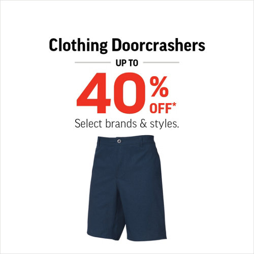 Men's , Women's & Kids' Clothing Up to 40% Off* Select Brands & Styles.