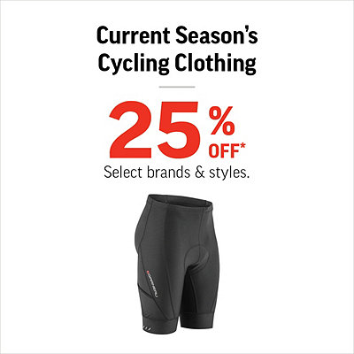 Select Current Seasons' Cycling Clothing 25% Off*