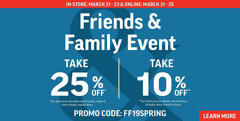 Up to 25% OFF ! Use code FF19SPRING at checkout. Learn More ▸ 9aca56a78bfc