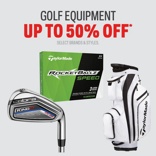 Golf Equipment Up to 50% Off* Select Brands & Styles.